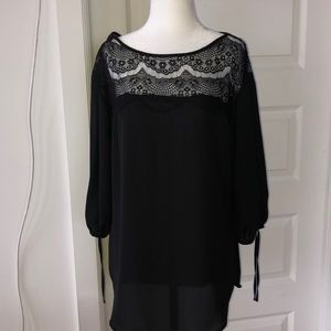 Dynamite Black Blouse with Lace